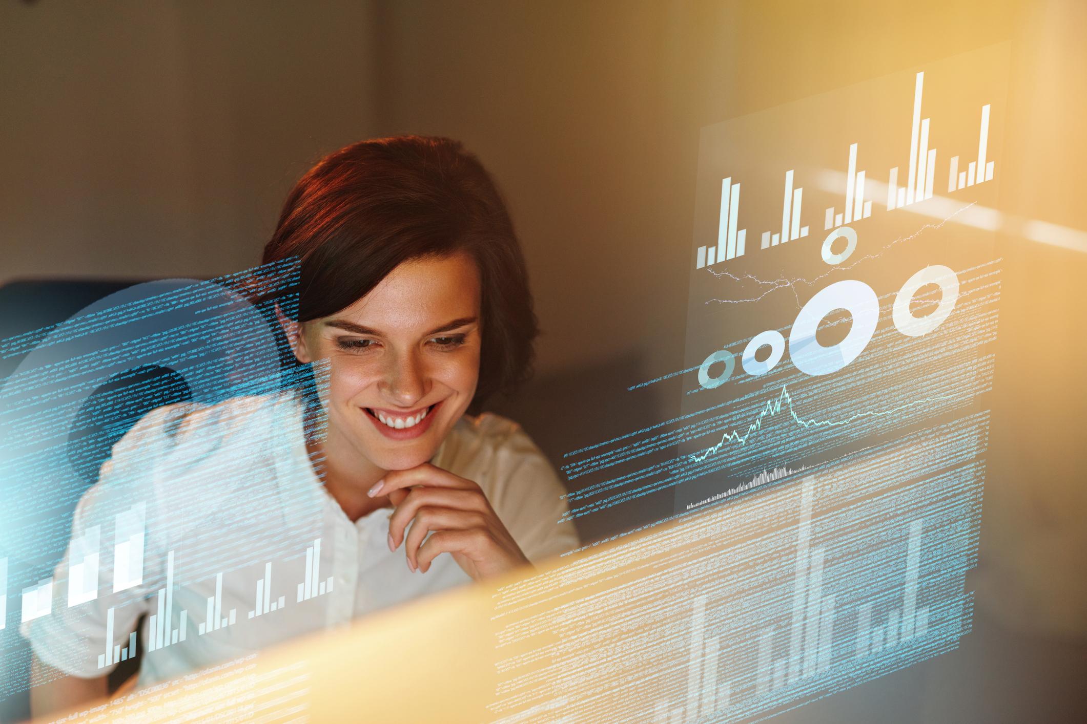 female developer analysing data
