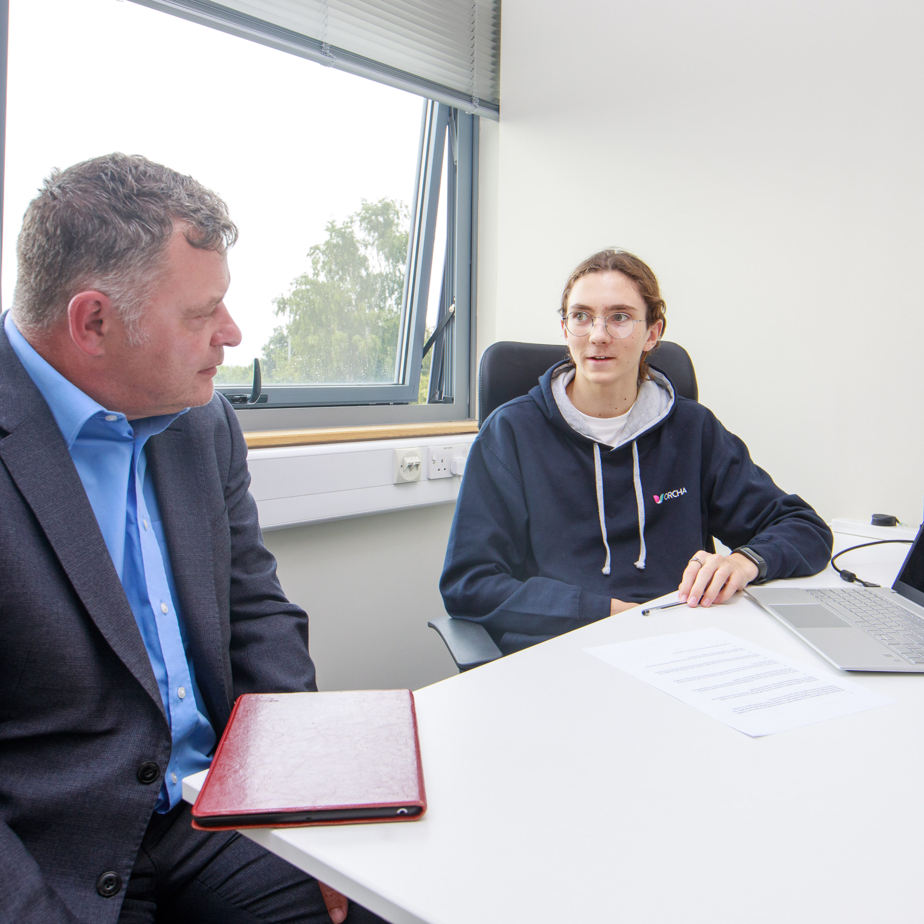 Mike Amesbury MP in discussion with Work Experience Student James McCann